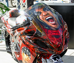 Killer Kreations Custom airbrush took more than 300 hours to complete the job on the 2009 Suzuki Hayabusa named Believe