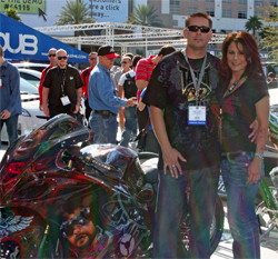 Jason and Meredith Peterson, owners of AKA Custom Cycles have information on the $10 donation for raffle tickets