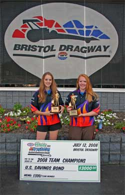 Heather and Allison Bell each earn a Wally at the Junior Dragster Eastern Conference Finals