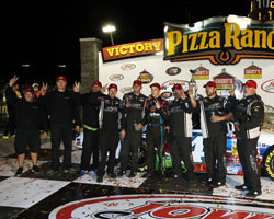 Ben Rhodes and his team celebrate their second win on the season in victory lane