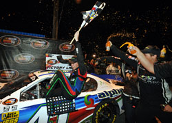 Ben Rhodes celebrating his win at the NASCAR K&N Pro Series East.