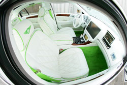 "This ""Bentlex"" has custom white interior with green diamond cut stitching"