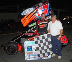 Randy Cabral celebrates victory with multi-time NEMA champion Dave Humphrey.