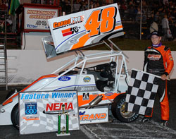 Todd Bertrand scores his first 2010 feature victory at Monadnock Speedway.