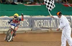 Australian Jason Crump Wins British Grand Prix at Cardiff's Millennium Stadium.
