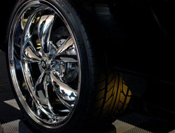 "The wheels are American Racing Torque Thrust M Chrome - 22"" x 9.5"" in the rear, and 20"" x 8.5"" in the front."