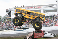 This Monster School Bus called Higher Education is driven by Jimmy Tracey. Photo by Dave Brown.