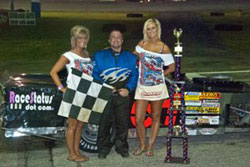 Brad Springer gets checkered flag at Angola Speedway, in Angola, Indiana