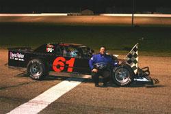 Brad Springer's modified car at Angola Speedway, at Angola, Indiana
