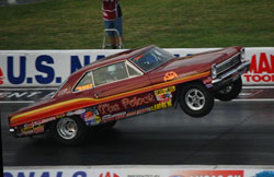 Bill's Super Stock 1966 Chevy II Nova best run to date is 10.27 @126 mph -.76 under GT/J  index.
