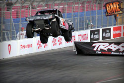 Bradley Morris soared over the streets of Long Beach Prix in his first ever Stadium Super Trucks race