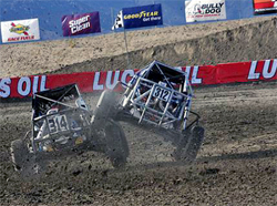 Aggressive driving at The Challenge Cup was part of the program for many of the short course off road drivers in Lake Elsinore, California.