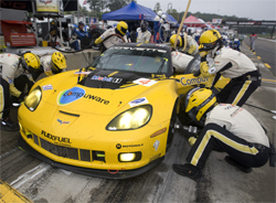 Oliver Gavin pits on the Road Atlanta circuit in Corvette Racing's Compuware Corvette C6.R, photo by GM Corp.