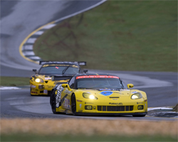 Two Corvette C6.Rs dominated the first three hours of the Petit Le Mans Race in Braselton, Georgia, photo by GM Corp.