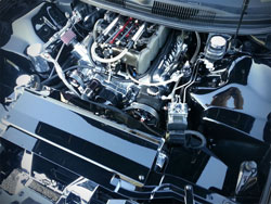 The intake manifold on this SEMA show car was made by Kinsler Fuel Injeciton and is certainly one of a kind