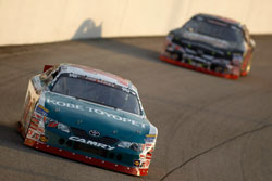 Brett Moffitt leads the pack in the NASCAR K&N Pro Series East race at Richmond International Raceway