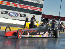 Brian Browell drove his V6 Chevy powered 2008 McKinney dragster to the Competition Eliminator final