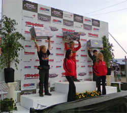 Acton, California teen Trenton Briley takes the podium in the Elite Kart Race at Perris Raceway