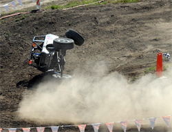 Crash at Cortez, Colorado in XRRA western series race broke Roger Lovell's steering and nearly ripped off his front wheel