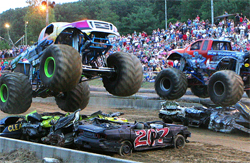 Black Stallion and Iron Warrior Monster trucks compete in match racing at Lebanon County Fair in Pennsylvania, photo by Marie Brennan