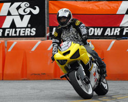 K&N air filters offer Bubash increased power and protection for his Kawasaki stunt bikes.