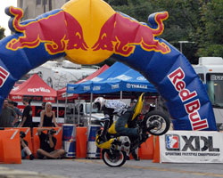 Brian Bubash performs a stoppie during XDL qualifying for round 4 in Indianapolis, Indiana.
