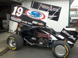 A well prepared Kaeding Performance/SCI/BZE backed #19 World of Outlaws race car