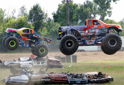Teammates Michael Vaters and Trey Myers come off the line simultaneously during a race at the Northwest Missouri State Fair