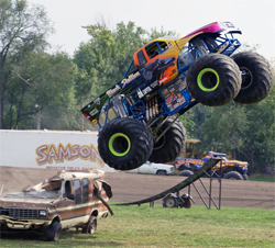 Black Stallion Monster Truck driven by Michael Vaters in the Monster Freestyle Competition