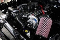 The 1968 Chevy C10 breathes through a massive K&N high flow air filter