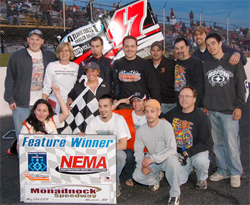 Bertrand Motorsports celebrates victory in the Northeastern Midget Association opener at Monadnock Speedway in Winchester, New Hampshire