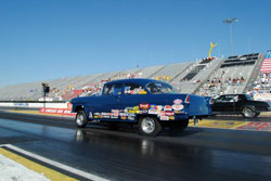 Uncle Tim's 1955 Chevy continues to race strong for the team Moss family.