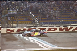 Elliott took the lead on lap 145, before the Kennedy accident, and was able to maintain his lead on the restart at Iowa Speedway.