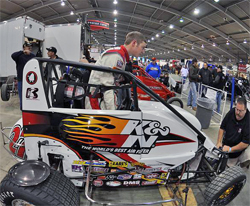 K&N Sponsored racer Ryan Kaplan with his K&N Filters Midget at the Chili Bowl Nationals