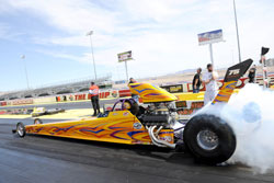 Rumis put his Top Dragster in a comfortable number 2 Qualified position at the Las Vegas NHRA Divisional. Photo by: Bob Johnson Photography.