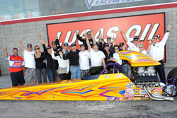 A super weekend for K&N's Chip Rumis with two final rounds and his first Top Dragster victory for 2011. Photo by: Bob Johnson Photography.
