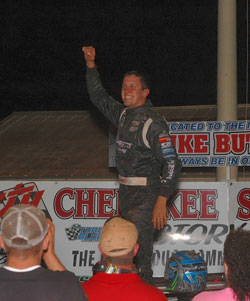 Fergy was all smiles after the richest and most emotional win of his young career at Cherokee Speedway.
