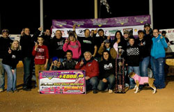 The entire Chris Ferguson Motorsports crew was on hand to celebrate his big win. Photo Credit: Glensphoto.com