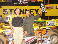 Chris Steele in victory lane after win in City Chevrolet's Hot Summer Nights Round 2 in North Carolina