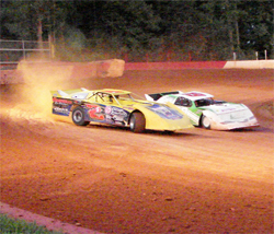Chris Steele and Jordan Alexander are locked in battle at East Lincoln Speedway in North Carolina