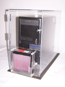The enclosures are patented as no other manufacturer's enclosure is designed to work with the computer's air flow, or with K&N filters.