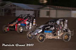 Swanson in a heat race with Pricket in Hanford, California. Photo by Patrick Grant.