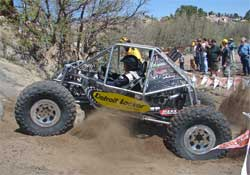 Team Waggoner revs up its engine and spits dirt everywhere trying to get in line for a climb at Cedar City, Utah
