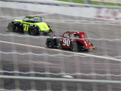 Cody Swanson in lapped traffic at Irwindale Speedway