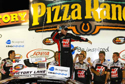 Cole Custer celebrates his NASCAR K&N Pro Series victory at Iowa Speedway and becomes the youngest driver to win a K&N Pro Series race.