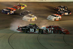 NASCAR K&N Pro Series crash off Turn 2 involved Brandon Jones, Cale Conley and Austin Dyne at Iowa Speedway.