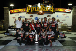 Cole Custer and the Haas Automation team make it to victory lane at Iowa Speedway.