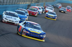 NAPA Auto Parts/Haas Automation Chevrolet driver Cole Custer leads the field during the NASCAR K&N Pro Series West at Phoenix International Raceway