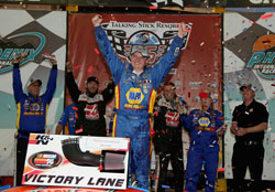 NASCAR K&N Pro Series West racer Cole Custer in victory lane after winning Talking Stick Resort 75 at Phoenix International Raceway