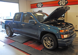 2009 Chevrolet Colorado with a V8 engine on the dyno at K&N